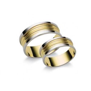 Fehér és Sárga arany karika és eljegyzési gyűrű -N4