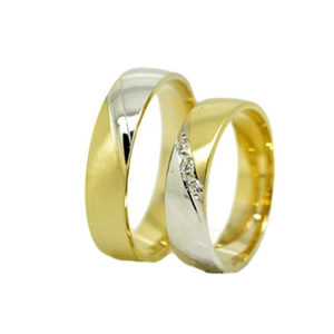 Fehér és Sárga arany karikagyűrű K9