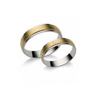 Vékony sárga arany karika és eljegyzési gyűrű N7