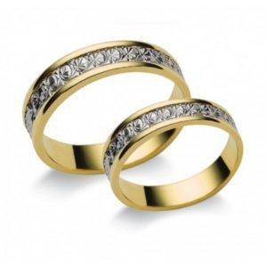 Arany és ezüst köves karikagyűrű T9